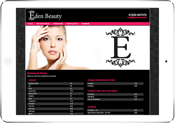 Web Design Aberdeen | Eden Hair Beauty | Creative Impact