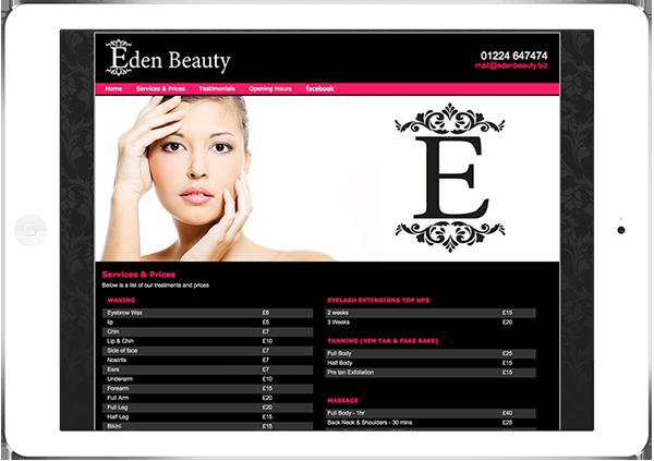 Web Design Aberdeen | Eden Hair Beauty | Creative Impact